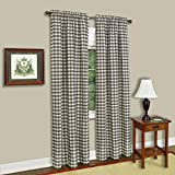 Sweet Home Collection Kitchen Window Curtain Panel Treatment Decorative Buffalo Check Design, 84'' Long, Taupe