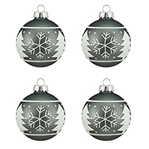 """4ct Alpine Chic Matte Gray with White Snowflake Design Glass Ball Christmas Ornaments 2.5"""" (65mm)"""