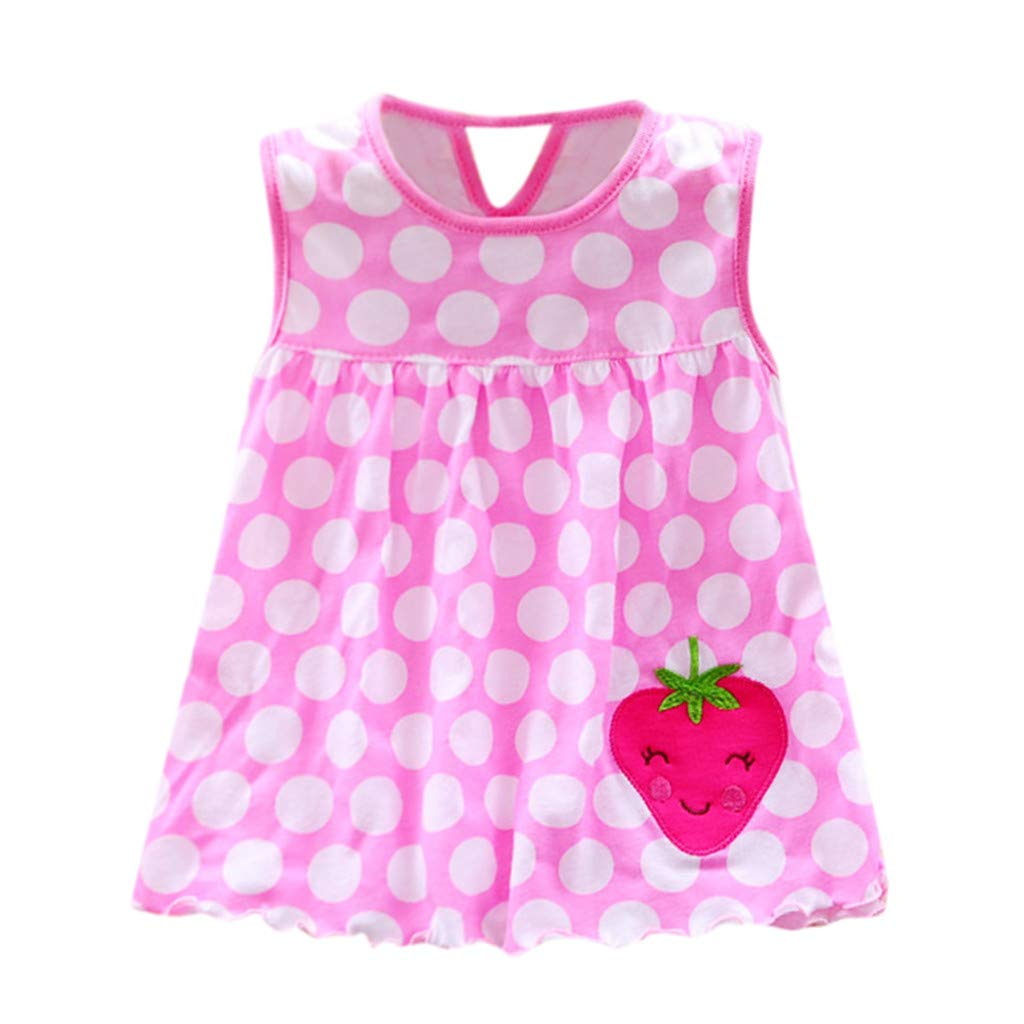 pengchengxinmiao Summer Mini Vest Dress for Toddler Baby Girls Beach Party Casual Sundress Cotton Flower Print Sleeveless Tee Dress (Pink, 24M)