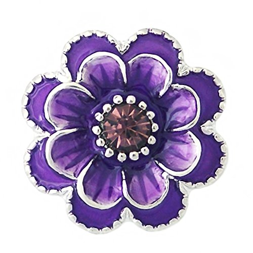 Lovmoment Snap Purple Flower Snap Button with Rhinestone and Enamel Charms Jewelry