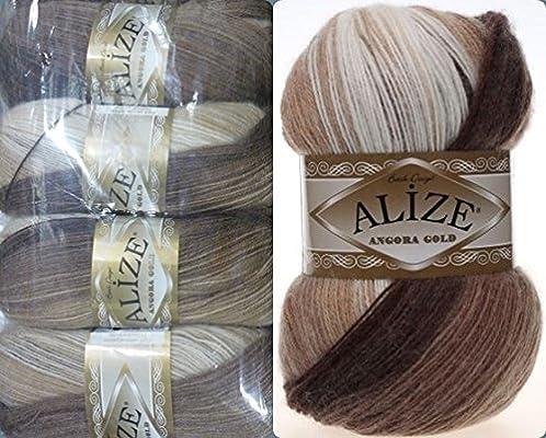 20/% lana 80/% acr/ílico hilo suave Alize Angora Oro Batik hilo de ganchillo de encaje de mano hilo turco lote de 4skn 400 g 2408yds color degradado
