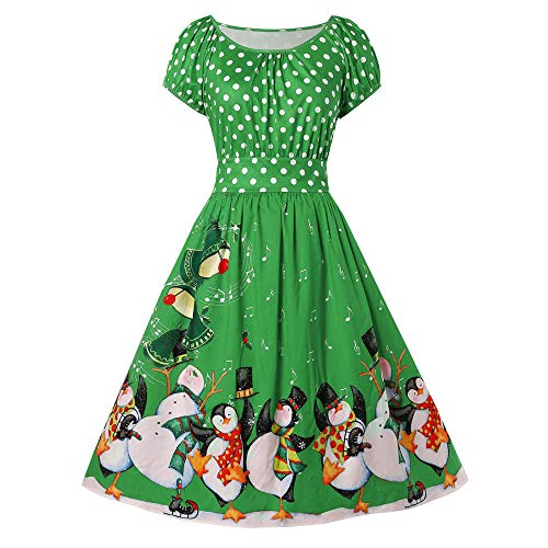 (Women's Christmas Dress Xmas Christmas Print Long Vintage Plus Size Penguin Dot Print O-Neck Party Dress)