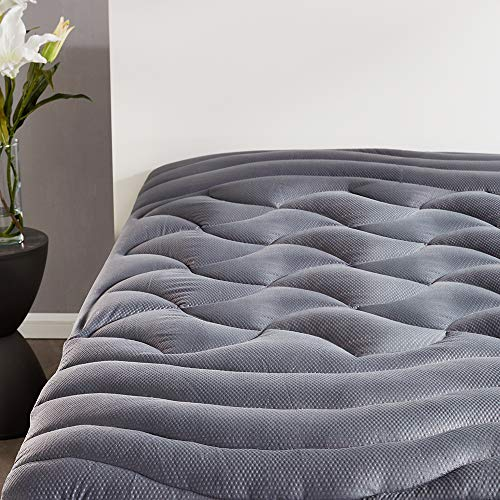 SLEEP ZONE Premium Mattress Pad Cover Cooling Overfilled Fluffy Soft Topper Zone Design Upto 21 inch Deep Pocket with Athletic Grade Elastic Skirt, Grey, Twin in USA