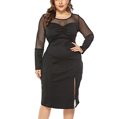 Qingell Women\'s Round Neck Plus Size Mesh Hollow Dress ...