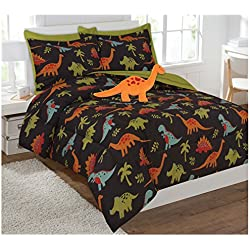 Fancy Collection 8 Pc Full Size Kids/teens Dinosaur Brown Orange Green Blue Luxury Comforter Furry Buddy Included New # Dino Brown