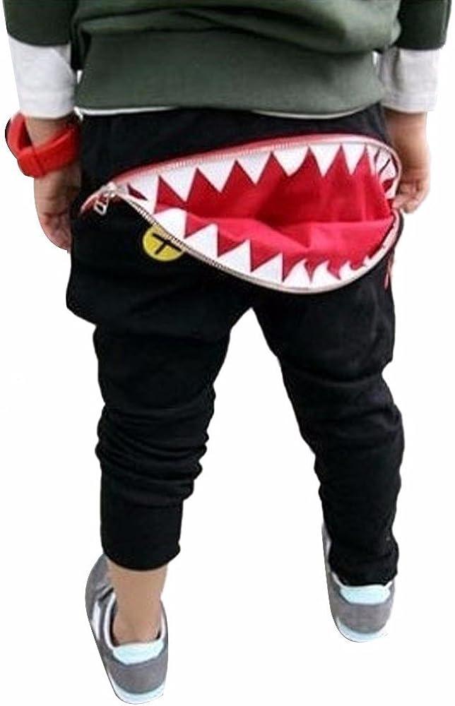 Elecenty Pantaloni per bambini forma di cartone animato Shark Tongue Harem in cotone
