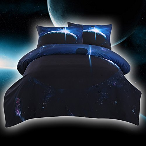 Sleepwish Galaxy Bedding Bed Comforter Set 3D Blue Space Duvet Cover Kids Galaxy Bedding - King