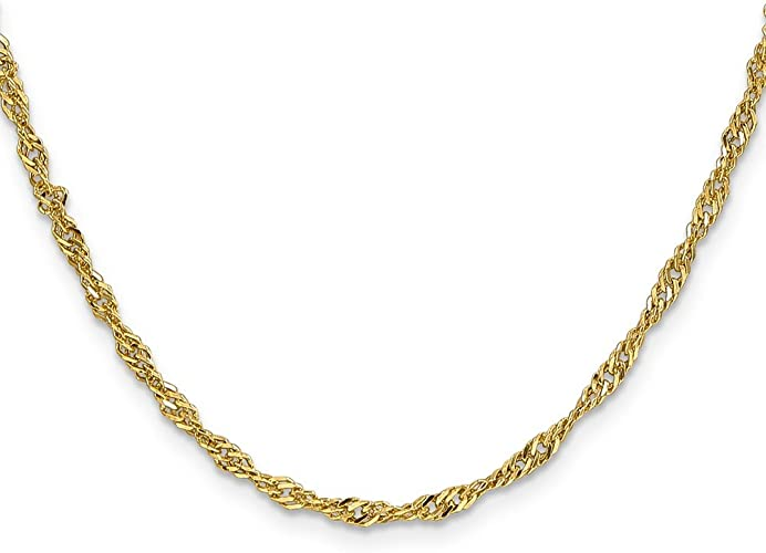 Brilliant Bijou 14k White Gold Singapore Chain Necklace