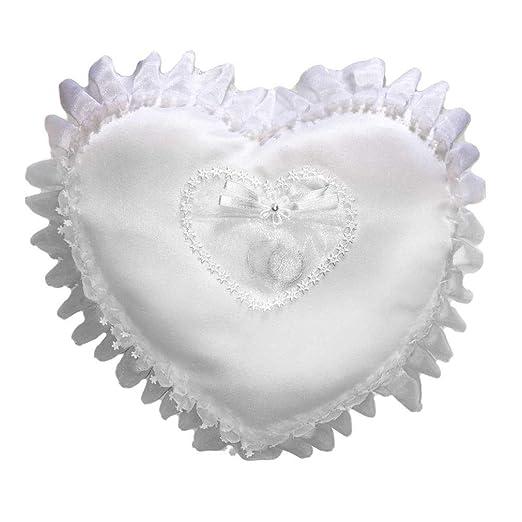 Cojín Corazón anillo boda blanco con funda: Amazon.es ...