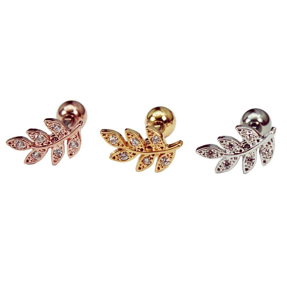 16g dainty leaf cartilage earring, leaf ear stud, helix earring, conch earring, 316l surgical steel, leaf barbell, sold as piece (Silver, Left ear, Bar length 5/16''(8mm))