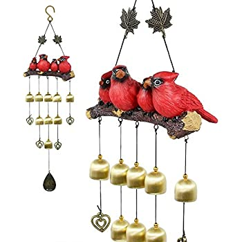 Monsiter Birds Wind Chimes Garden Decorations Outdoor - Red