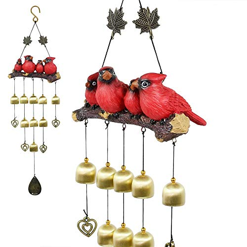 - Monsiter Birds Wind Chimes Garden Decorations Outdoor - Red