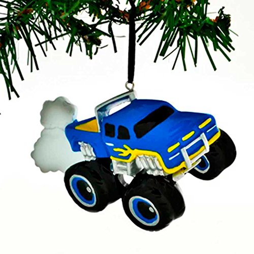 (Personalized General Monster Truck Christmas Tree Ornament 2019 - Blue Mighty Pickup Vehicle Machine Large Tires Field Trailer Boy Holiday Toy Jam SUV Horsepower Gift Year - Free Customization)