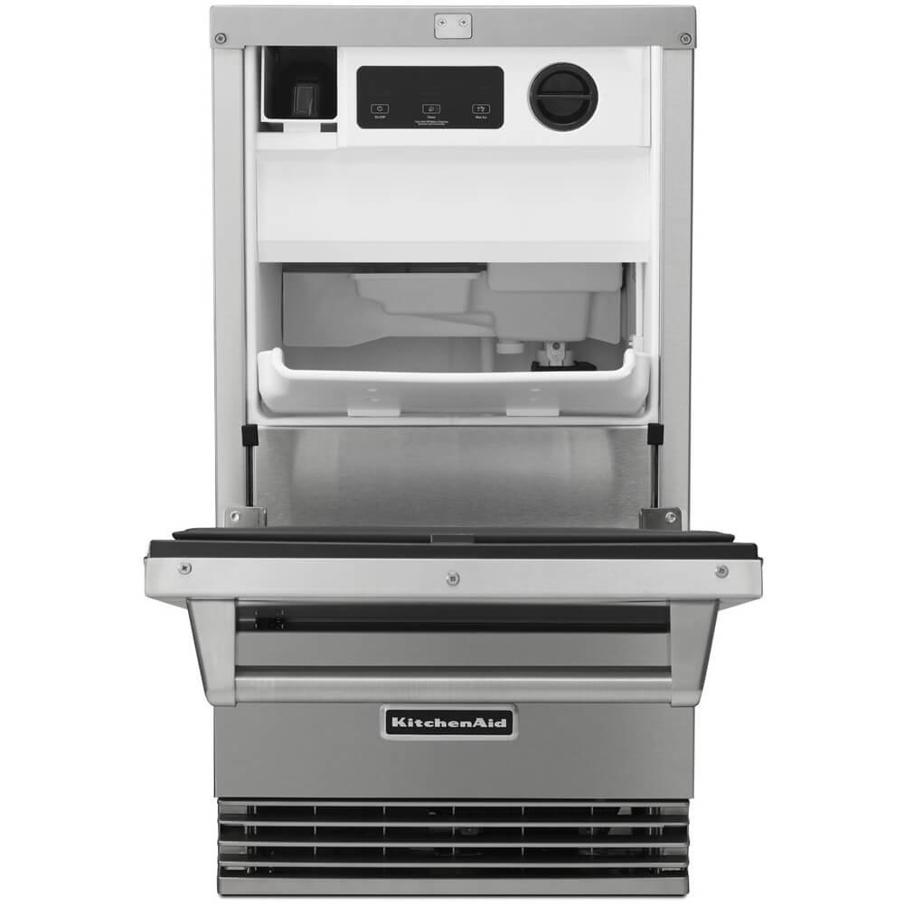 KITCHENAID KUIO18NNZS 18 Wide Ice Maker with Drop-Down Door Production Rate per 24 Hours Up to 50-Lb Clear Ice Technology and Integrated Filter in Stainless Steel