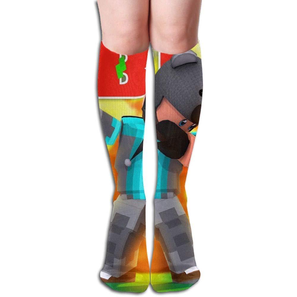 ouyjian Chaussettes hautes unisexes folles au genou Rob-lox Chaussettes Longues en Coton Chaussettes Longues en Coton