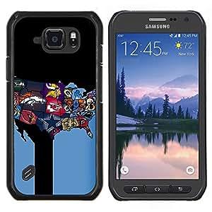 Equipo deportivo EE.UU.- Metal de aluminio y de plástico duro Caja del teléfono - Negro - Samsung Galaxy S6 active / SM-G890 (NOT S6)
