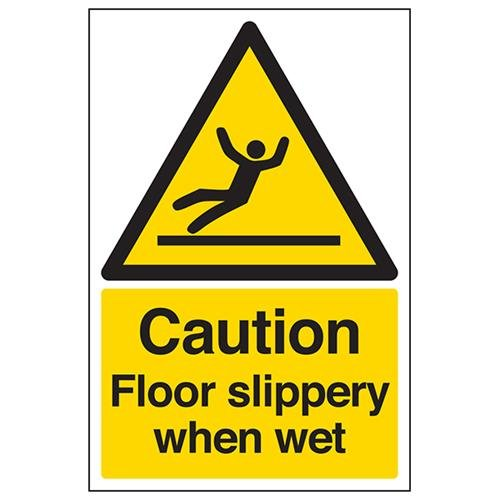 Danger Slippery Surface Warning Health /& Safety Plastic Sign 300mm x 100mm