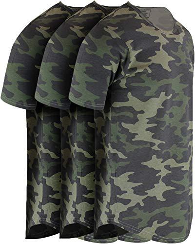 ShirtBANC Mens Hipster Hip Hop Long Drop Tail T Shirts (Camo 3 Pack, L)
