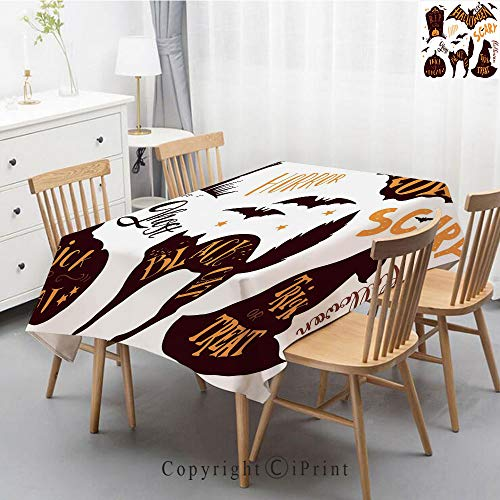Premium Linen Printed Tablecloth,Ideal for Grand Events and Regular Home Use,Machine Washable,55x102 Inch,Vintage Halloween,Halloween Symbols Trick or Treat Bat Tombstone Ghost Candy Scary Decor