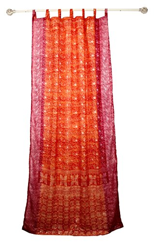 """Colorful Window Treatment Draperies Indian Sari panel 108 96 84 inch for bedroom living room dining room kids teens canopy boho curtains with Gift bag (Orange Pink, 42""""W x 108""""L) For Sale"""