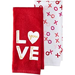 Happy Valentine's Day Velour Kitchen Dish Towel 2 Pack with LOVE and XOXO's