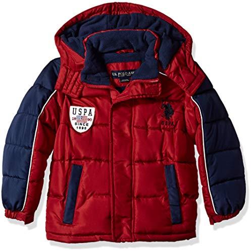 US Polo Association Boys' Big Bubble Vestee Jacket with Fleece Hood, Red, 10/12