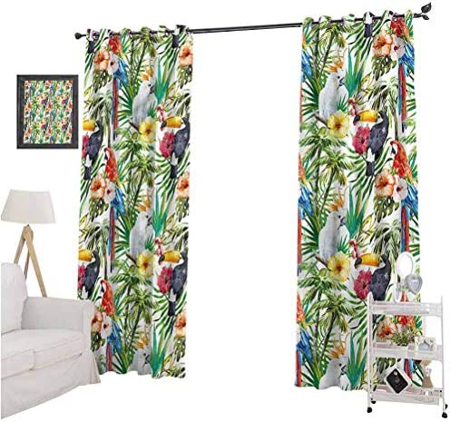 Aishare Store Room Darkening Blackout Window Curtains, Parrots,Watercolor Tropical Animals, 96 Inches Long Window Drapes for Living Room, Set of 2 Panels