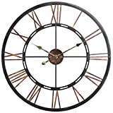 Declan' Aged Copper and Round Black Vintage Metal Decorative Wall Clock (Roman Numeral)