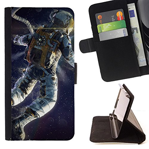 God Garden - FOR Apple Iphone 5C - Astronaut - Glitter Teal Purple Sparkling Watercolor Personalized Design Custom Style PU Leather Case Wallet Fli