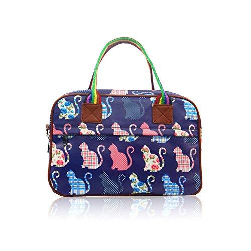 Womens Ladies hule Cat Holdall Fin de Semana de viaje bolsa de hombro bolso de mano para mujer azul oscuro