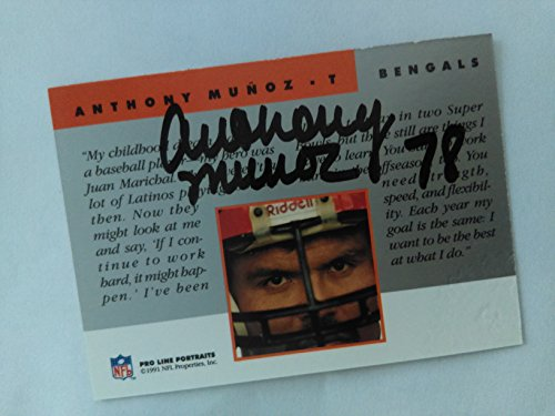 Anthony Munoz - certified autographed Football Card with stamp (Cincinnati Bengals) 1991 Pro Line (Portraits Autographed Card)