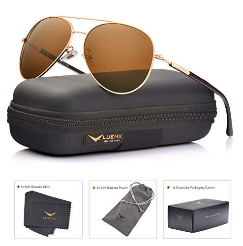 LUENX Aviator Sunglasses Mens Womens Polarized Brown Plastic Lens Gold Metal Frame Large - With Sunglasses Lenses Gold