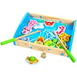 rolimate 12-Piece Fishes Basic Educational Development Wooden Magnetic Bath Fishing Travel Table Game, Best Birthday Gift Toy for age 3 4 5 Year Old Kid Children Baby Toddler Boy Girl Magnet Toy