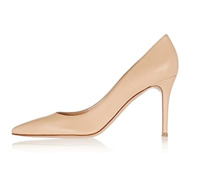 bf946f8a82d8 Sammitop Women s Classic 80mm High Heel Pumps Pointed Toe Office Work Dress  Shoes Beige US5