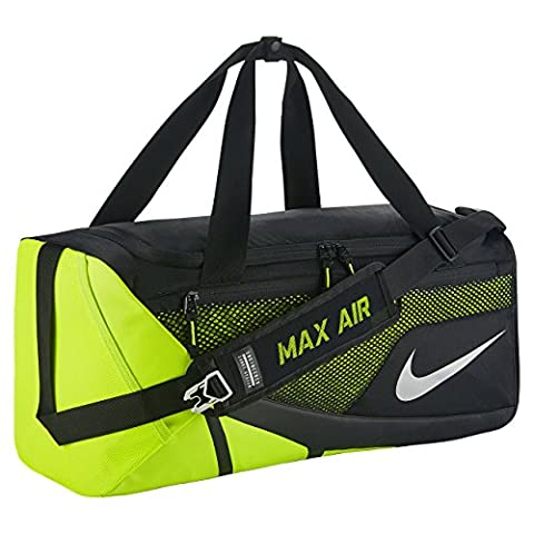 Nike Vapor Max Air 2.0 Medium Duffel Bag (Medium, Black/Volt/Metallic Silver) (Neon Pink Track Spikes)