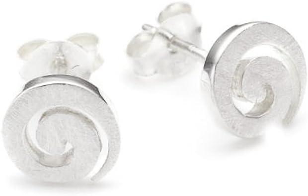 Vinani Ohrstecker Spirale gebürstet Sterling Silber 925 Ohrringe OSP