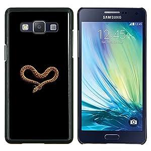 Caucho caso de Shell duro de la cubierta de accesorios de protección BY RAYDREAMMM - Samsung Galaxy A5 A5000 - anaconda amor del corazón de la serpiente marrón negro