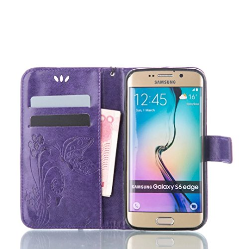 Samsung Galaxy S6 Edge Plus event Bonice 3 in 1 gadget PU Leather use Practical Book model Magnetic Snap Wallet event with the help of Card Slots Hand Strip Premium Multi characteristic design and model Cover Stylus Pen Diamond Rhinestone Butterfly Antidust Plug Purple Amplifier Installation