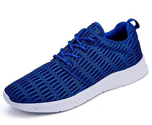 De malla ligera de ejecución de tenis de tenis deportivo cómodo de encaje zapatos de los hombres UE tamaño 35-48 Blue