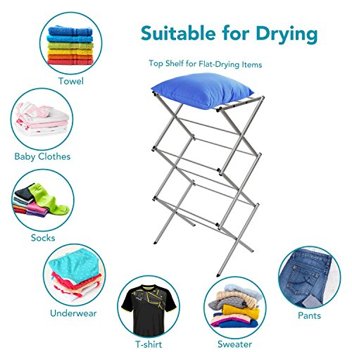 Expandable Clothes Drying Rack (StorageManiac 3-tier Folding Anti-Rust Compact Steel Clothes Drying Rack - 22.44