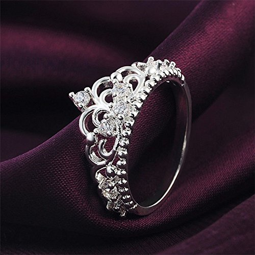 Sumanee Women Princess Queen Crown Ring Wedding Silver Plated Crystal Sterling Ring zine 7