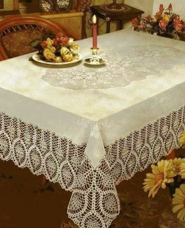 (The Pecan Man Tablecloth Rectangle CROCHET LACE VINYL TABLECLOTH Beige 60x90