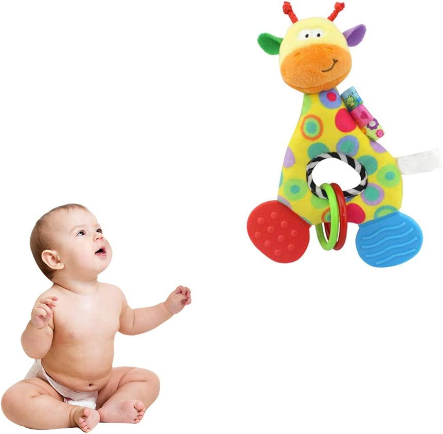 Mano del beb/é campanas de los traqueteos de la mu/ñeca Mordedor para Reci/én nacido ni/ño de ni/ños y ni/ñas de la felpa del beb/é Mordedor mu/ñeca 1Pc de la jirafa