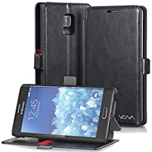 Vena® Samsung Galaxy Note Edge Case [vFolio] Vintage PU Flip Leather Wallet Stand Case Cover [Card Pockets] for Samsung Galaxy Note Edge (Black/Red)