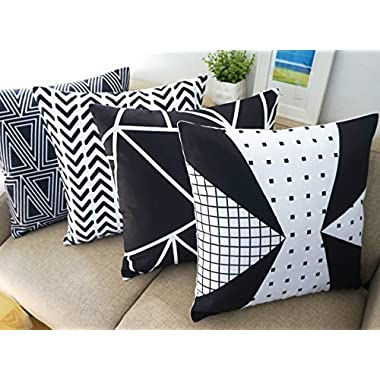 Black and White Set of 4 Howarmer® Canvas Cotton Black Decorative Throw Pillows Set of 4 Geometric Pattern Cushion Cover for Couch 18  X 18