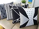 Black and White Set of 4 Howarmer® Canvas Cotton Black Decorative Throw Pillows Set of 4 Geometric Pattern Cushion Cover for Couch 18