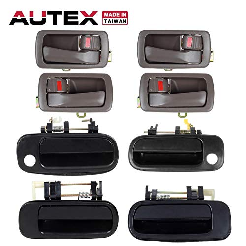 (AUTEX 4pcs Interior + 4pcs Exterior Door Handles Front Rear Left Right Compatible with Toyota Camry 1992 1993 1994 1995 1996 Door Handles 77619 1150407 77386 77401 80493 80486)
