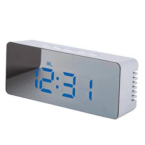 Level LED Digital Despertador 12H 24H Alarma repetitiva Función del Reloj de Espejo Interior USB Relojes