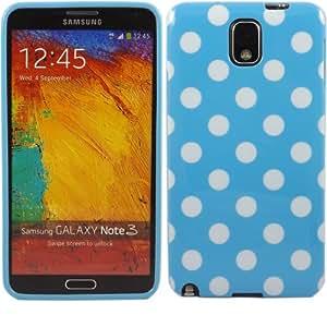 Polka Gel Caso Cubrir Concha Para Samsung Galaxy Note 3 N9000 / White Polka Dots Spots Baby Blue