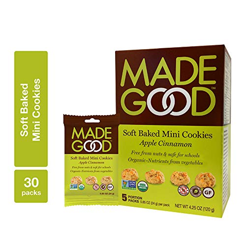 MadeGood Apple Cinnamon Soft Baked Mini Cookies, 6 boxes (30 ct); With the Scrumptious Flavor of Homemade Apple Crisp, the Delicious Snacks Contain Organic, Non-GMO, Gluten Free Ingredients
